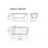 Akmens masės vonia Vispool Classica balta, 150x75