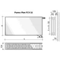 Radiatorius PURMO FCV 22, 500-1200, pajungimas apačioje
