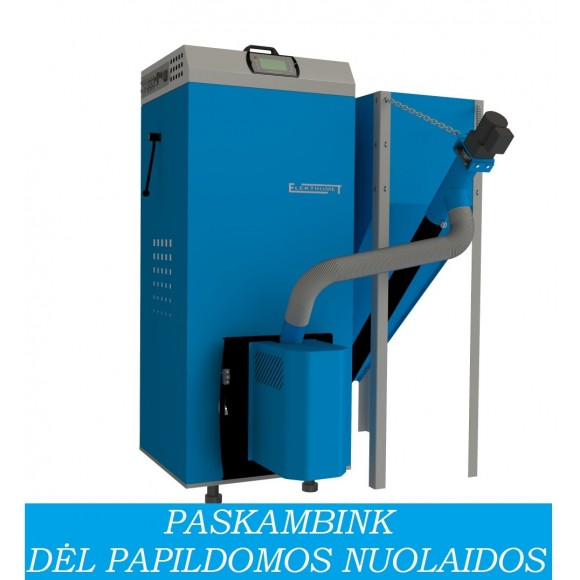 Granulinis katilas Elektromet EKO-PE COMPACT 20/310 (18 kW, su 310 l talpa granulėms)