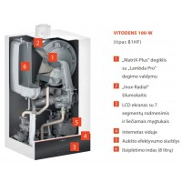 Dujinis katilas VIESSMANN Vitodens 100-W su momentiniu karšto vandens ruošimu (19 kW)
