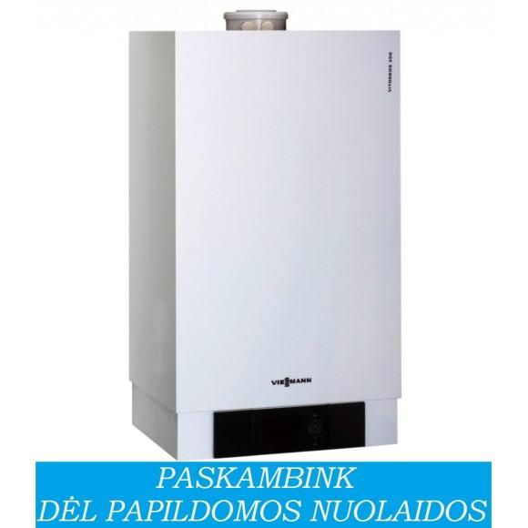 Dujinis katilas VIESSMANN Vitodens 200-W šildymui, galima prijungti vandens šildytuvą (11 kW)